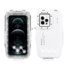 Pouzdro vodotěsné PULUZ pro Apple iPhone 12 / 12 Pro - odolnost do 40m hloubky (IPX8) - průhledné / bílé