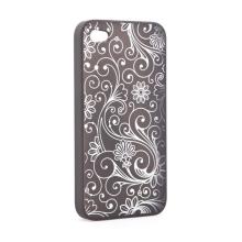 Ochranný kryt pro Apple iPhone 4 s květinovým motivem - černo-bílý