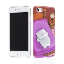 Kryt pro Apple iPhone 7 / 8 - gumový - 3D spící kočička - šedá