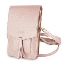 Pouzdro / kabelka GUESS Saffiano - 2x kapsa + popruh přes rameno - umělá kůže - růžové