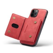 Kryt DG.MING pro Apple iPhone 13 Pro - stojánek + odnímatelná peněženka - umělá kůže - červený