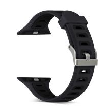 Řemínek pro Apple Watch 38mm Series 1 / 2 / 3 silikonový - černý / tmavé otvory - (S/M)