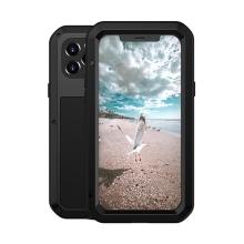 Pouzdro LOVE MEI pro Apple iPhone 12 Pro - outdoor - kov / silikon / tvrzené sklo - černé