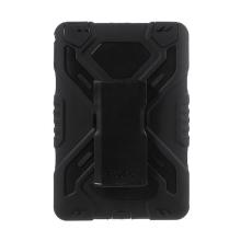 Odolné plasto-silikonové pouzdro Pepkoo pro Apple iPad mini 4 / 5 - 360° otočný stojánek a přední ochranná vrstva - černé