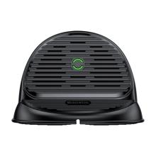 Bezdrátová nabíječka Qi BASEUS - silikonový stojánek - ventilátor - rychlé nabíjení - černá