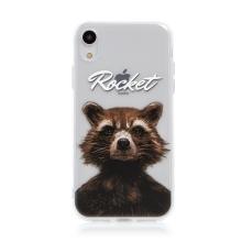 Kryt MARVEL pro Apple iPhone Xr - Strážci Galaxie - Rocket - gumový - průhledný