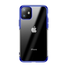 Kryt BASEUS Shining pro Apple iPhone 11 - gumový - pokovený - průhledný / červený