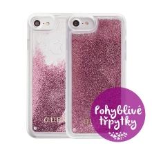 Kryt GUESS Triangle pro Apple iPhone 6 / 6S / 7 / 8 - plastový - glitter / Rose Gold růžové třpytky