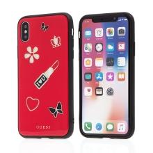 Kryt GUESS Iconic pro Apple iPhone X / Xs - plastový / gumový - červený