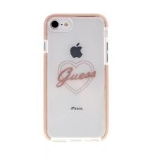 Kryt GUESS Heart pro Apple iPhone 6 / 6S / 7 / 8 - gumový - růžový / průhledný