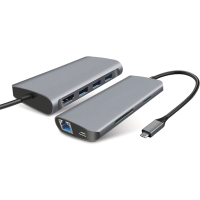 Dokovací stanice / port replikátor pro Apple MacBook - USB-C na USB-C + 3x USB-A + SD + HDMI + ethernet - šedá