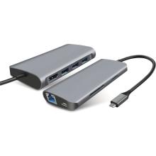 Dokovací stanice / port replikátor pro Apple MacBook - USB-C na USB-C + 3x USB-A + SD + HDMI + ethernet - šedá