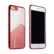 Kryt SULADA pro Apple iPhone 7 Plus / 8 Plus - gumový - průhledný / červený