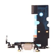 Napájecí a datový konektor s flex kabelem + GSM anténa + mikrofony pro Apple iPhone 8 - zlatý - kvalita A+