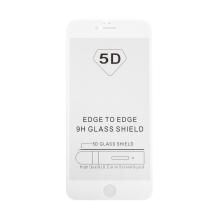 "Tvrzené sklo (Tempered Glass) ""5D"" pro Apple iPhone 6 Plus / 6S Plus - 3D - bílý rámeček - čiré - 0,3mm"