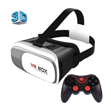 Virtuální brýle VR BOX 3D - černé + černý Bluetooth gamepad