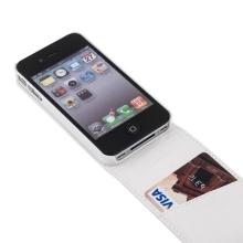 Elegantní pouzdro pro Apple iPhone 4 / 4S - vyklápěcí s místem pro kartu - bílé