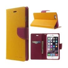 Pouzdro Mercury Goospery pro Apple iPhone 6 Plus / 6S Plus - stojánek a prostor pro platební karty - žluto-růžové