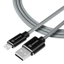 Synchronizační a nabíjecí kabel TACTICAL - MFi Lightning pro Apple zařízení - tkanička - šedý - 1m