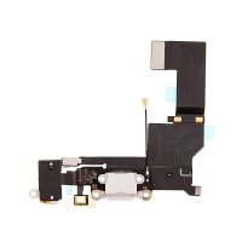 Napájecí a datový konektor s flex + audio jack konektor + mikrofon pro Apple iPhone SE - bílý - kvalita A+