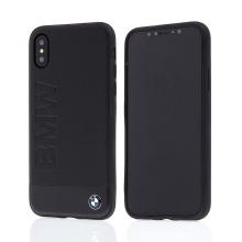 Kryt BMW pro Apple iPhone X - kožený - černý - motiv BMW