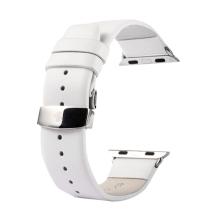 Řemínek KAKAPI pro Apple Watch 40mm Series 4 / 5 / 38mm 1 2 3 + šroubovák - kožený - bílý