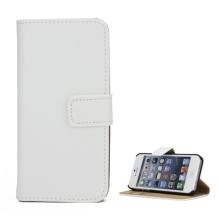 Pouzdro pro Apple iPhone 5 / 5S / SE - stojánek + prostor pro platební karty - kožené - bílé