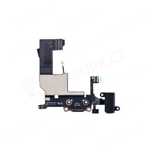 Napájecí a datový konektor s flex kabelem + audio konektor jack pro Apple iPhone 5 - černý - kvalita A+