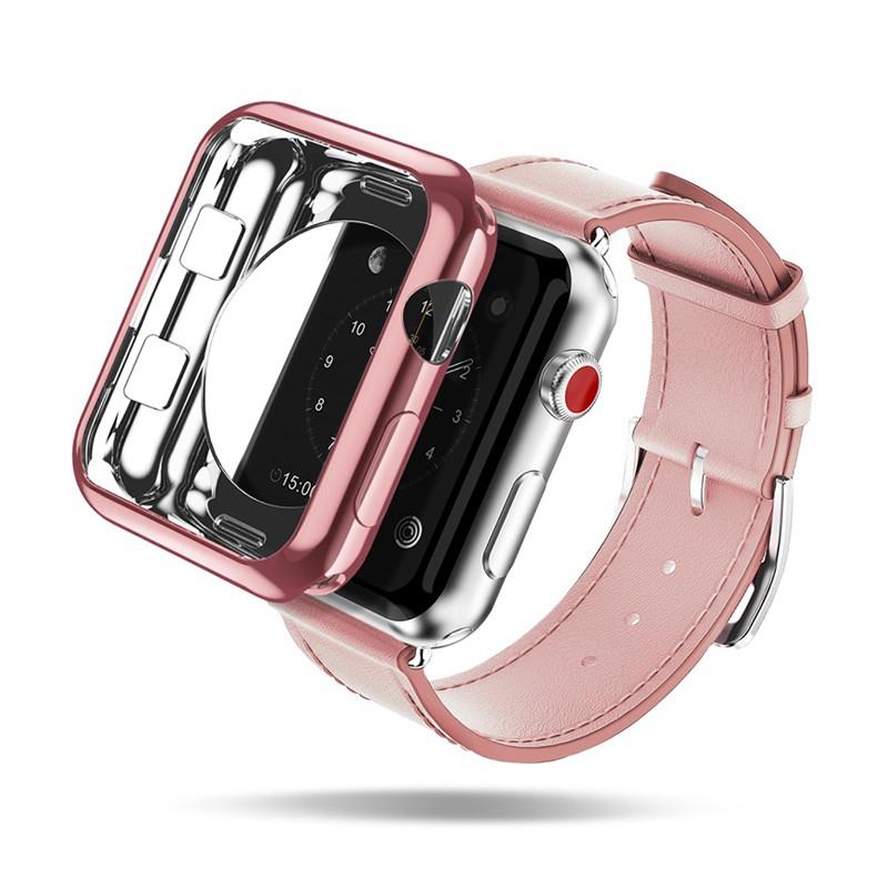 2v1 Kryt / rámeček DUX DUCIS pro Apple Watch 42mm 1 / 2 / 3 - lesklý Rose Gold + průhledný - gumové