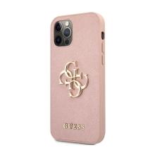 Kryt GUESS Saffiano pro Apple iPhone 12 / 12 Pro - kovové logo 4G - umělá kůže - růžový