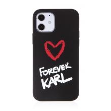 Kryt KARL LAGERFELD Forever pro Apple iPhone 12 / 12 Pro - silikonový - černý