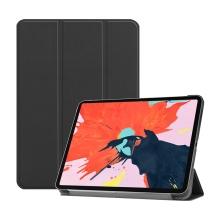 """Pouzdro / kryt pro Apple iPad Pro 12,9"""" (2018) - funkce chytrého uspání + stojánek - umělá kůže - černé"""
