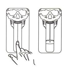 Ochranný plasto-gumový kryt pro Apple iPhone 4 / 4S - černý s motivem lebky s možností vytvoření stojánku