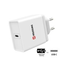 18W EU napájecí adaptér / nabíječka SWISSTEN - rychlonabíjecí - USB-C pro Apple iPhone / iPad - bílý