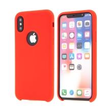 Kryt pro Apple iPhone X - gumový - příjemný na dotek - výřez pro logo - červený