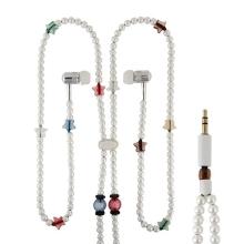 Sluchátka / náhrdelník korálková bílá