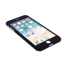 Kryt pro Apple iPhone 7 Plus / 8 Plus - 360°ochrana - plastový - černý + tvrzené sklo