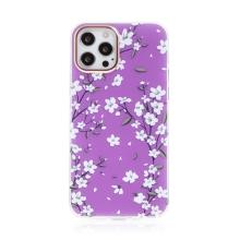 Kryt pro Apple iPhone 12 / 12 Pro - plastový / gumový - kvetoucí třešeň - fialový