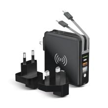 3v1 Externí baterie / Power bank FOREVER 10000 mAh + adaptér / nabíječka 2x USB + USB-C + Qi nabíjecí podložka