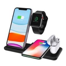Stojánek / bezdrátová nabíječka Qi 4v1 - 2x Apple iPhone + Watch + AirPods - nastavitelný - černý