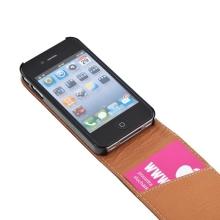 Elegantní pouzdro pro Apple iPhone 4 / 4S - vyklápěcí - hnědý