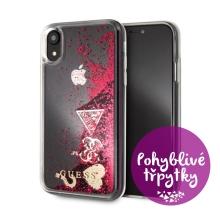 Kryt GUESS Liquid Glitter pro Apple iPhone Xr - plastový - růžové (malinové) třpytky