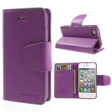 Vyklápěcí pouzdro Mercury Sonata Diary pro Apple iPhone 4 / 4S se stojánkem a prostorem na osobní doklady - světle fialové
