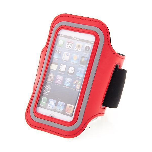 Sportovní pouzdro pro Apple iPhone 5 / 5C / 5S / SE - červené s reflexním pruhem