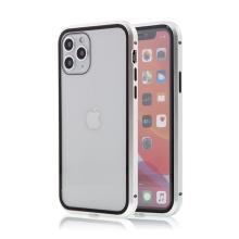 Kryt pro Apple iPhone 11 Pro - magnetické uchycení - sklo / kov - 360° ochrana - průhledný / stříbrný
