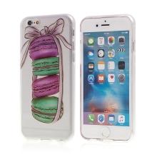 Kryt pro Apple iPhone 6 / 6S gumový - průhledný - barevné makronky