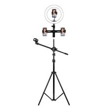 Stojan / stativ pro nahrávání videa - kruhové světlo (ring light) + 2x držák iPhone + držák mikrofonu - černý