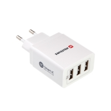 EU napájecí adaptér / nabíječka SWISSTEN Smart IC s 3x USB porty (3,4A) - bílý