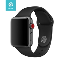 Řemínek DEVIA pro Apple Watch 40mm Series 4 / 5 / 38mm 1 2 3 - silikonový - černý