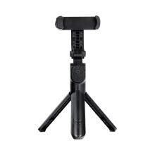 Selfie tyč / monopod + stativ - teleskopická + Bluetooth dálkové ovládání / spoušť - otočný držák - černá
